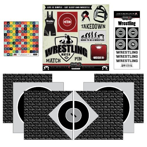 Scrapbook Customs Go Big Wrestling Themed Paper and Stickers Scrapbook Kit by Scrapbook Customs