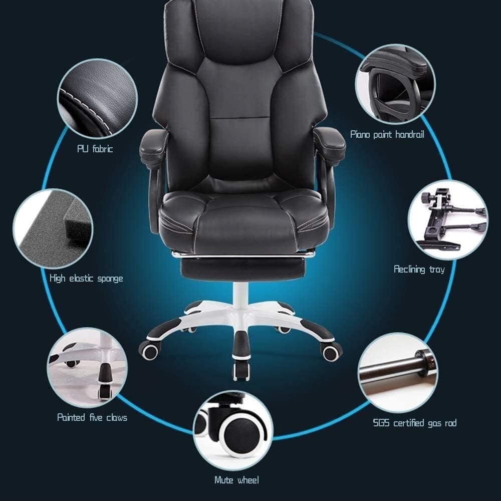 Xiuyun Tabouret de bar ergonomique inclinable en cuir synthétique avec dossier haut et dossier haut de gamme pour bureau, salle de réunion, chaise athlétique (couleur : noir) Rose
