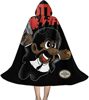 Bad Bros Su-per Ma-Rio Pulp Fiction Jules Unisex Kids Hooded Cloak Cape Halloween Xmas Party Decoration Role Cosplay Costumes Black