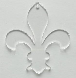 10PCS Clear Blank Acrylic Fleur Key Chains Laser Cut Fleur-de-lis Oranments, 3inch Transparent Acrylic Laser Cut 1/8 Thick...