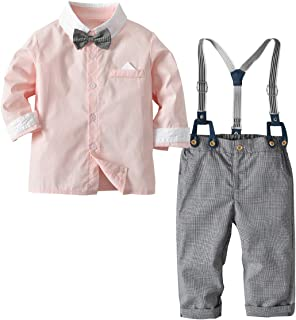 puseky Kids Toddler Boys Gentlemen Suit Long Sleeve Bow Tie Shirt + Suspender Pants Outfits Set
