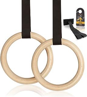High Pulse® vridringar inklusive turanker, halkskydd-tejp, transportväska + träningsaffisch – gymnastikringar av trä för e...