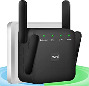WiFi Booster, 1200Mbps WiFi Extender, High Speed WiFi Extenders Signal Booster for Home 2.4G 5G WiFi Signal Booster Quick Setup WiFi Repeater with WPS WiFi Booster and Signal Amplifier with 4 Antennas