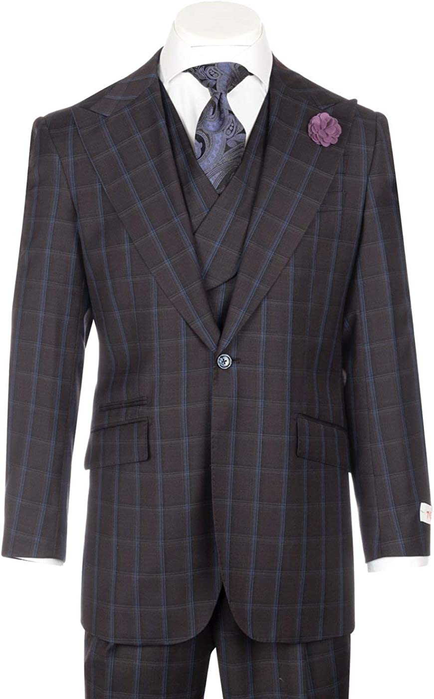 Tiglio New Rosso Bordeaux and French Blue Windowpane Wide Leg Pure Wool Suit & Vest Rosso LR74299/3