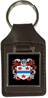 Poore Family Crest Surname Coat Of Arms Brown Leather Keyring Engraved
