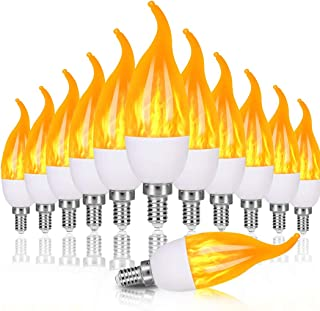 OHLight E12 Flame Bulbs 12 Pack, 3 Mode LED Candelabra Flame Light Bulb 1.2 Watt Warm White Chandelier Flame Bulbs,1800k Candle Light Bulbs, Flame Tip for Christmas Party Decorations