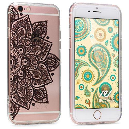 Urcover Custodia Protettiva Morbida Apple iPhone 6 Plus / 6s Plus | Back Cover in Silicone TPU Trasparente con Disegno Nero Mandala | Case Ultra-Slim Flessibile da Donna