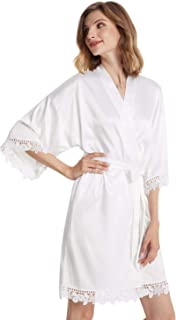 Women's Short Satin Robe with Lace Trim, Kimono Bathrobe for Bride Bridesmaids, Wedding Party Sleepwear