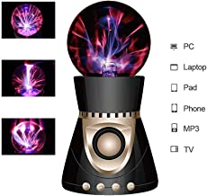 ElementDigital Magic Plasma Ball Touch Sensitive Plasma Ball 带蓝牙扬声器 Desdtop Light Lightning 灯派对圣诞礼物 神奇闪电球球球 黑色+金色 ElementDigital