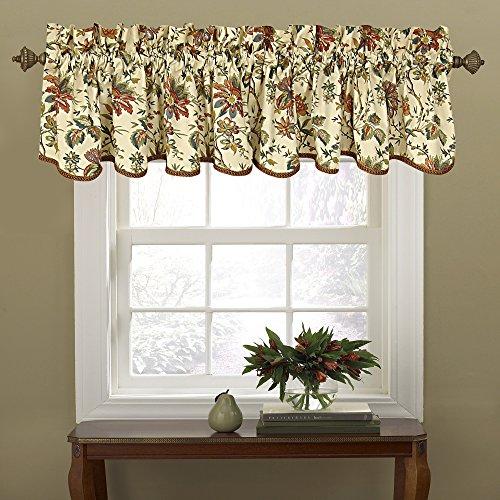 "WAVERLY Felicite Floral Pattern with Grimp Trim Window Valance Curtains, 50"" x 15"", Creme"