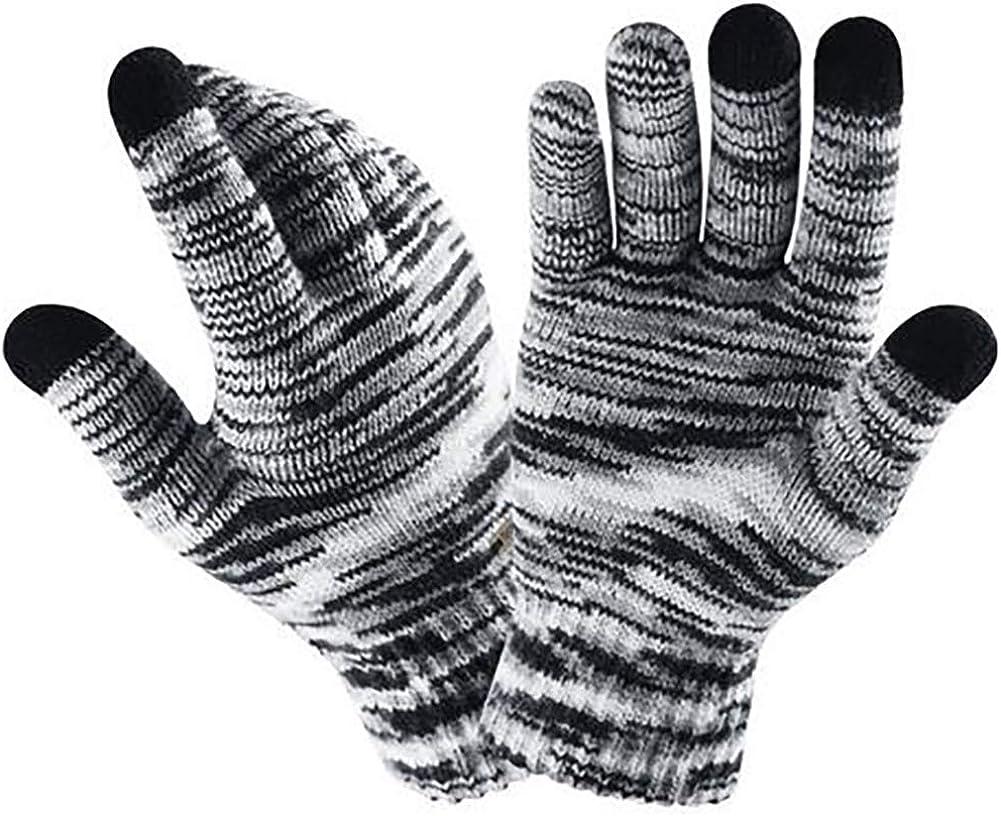 Gloves Touch Screen Fingers Winter Warm Elastic Glove Knit Wool Plus Velvet Mitten Gradient 1 Pair