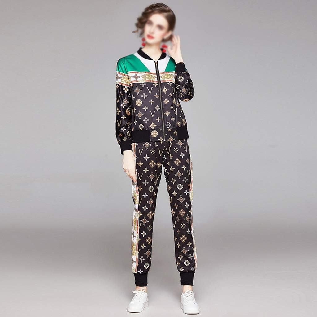 SGZYJ Fashion Runway Vintage Suit Women's 2 Piece Sets Floral Print Jacket Tops + Pocket Full Trousers Pants Sets (Size : XX-Large)