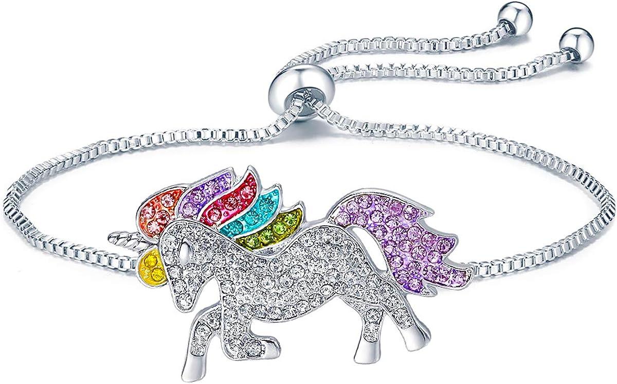 ALoveSoul Silver Tone Little Princess Rainbow Unicorn Pendant Gi