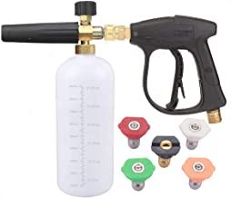 JWGJW Adjustable Foam Cannon, Pressure Washer Spray Nozzle Tips Multiple Degrees, 1/4 INCH (2.5 GMP) .car wash. (Foam Cannon + high-Pressure Gun +5 high Pressure w)