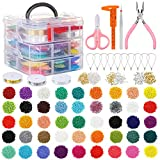 PP OPOUNT 27009 Pieces Glass Seed Beads Kit, Multiple Sizes Craft Seed Beads with Small Pony Beads, Beading Hoop Earring and Other Accessories for Earring, Bracelets, Necklaces Making(2mm 3mm 4mm)