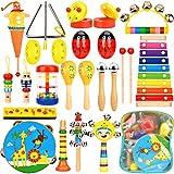 Wesimplelife Instruments de Musique Jouets de Percussions Enfants Set en Bois Instruments pour Bébé avec Xylophone, Tambourin, Flûte, Triangle et Autre Instrument Jouets avec Sac de Transport