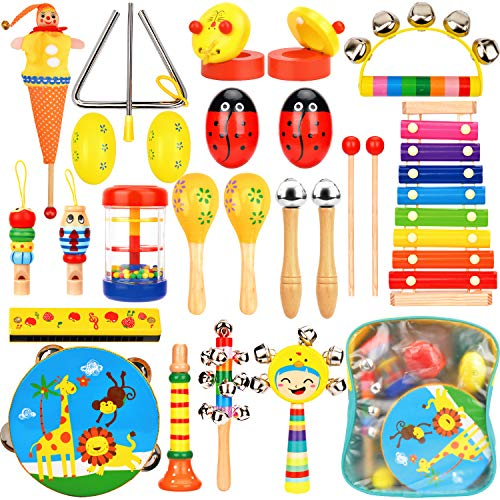 Wesimplelife Kinder Musikinstrumente Musical Instruments Set, Holz Percussion Set Schlagzeug Xylophon Rhythm Toys Band Werkzeuge Kinderspielzeug für Kleinkinder und Baby