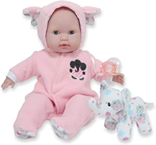 """JC Toys 15"""" Realistic Soft Body Baby Doll with Open/Close Eyes Berenguer Boutique   Elephant Hooded Onesie Theme   Pink   ..."""