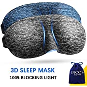3D Blindfold Sleep Mask - Eye Mask for Sleeping for Women Men with Adjustable Strap Carry Pouch Light Blocking Eyeshade for Travel Airplane 2 Pack, Blue/Gray