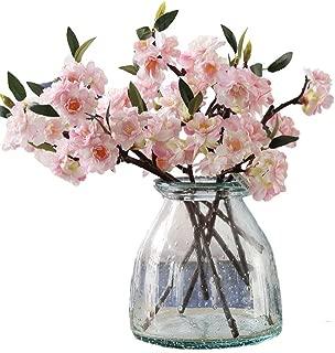 JAROWN 5 Pcs Artificial Flowers Silk Cherry Blossom Branch Fake Sakura Green Leaves for Wedding Room Decoration (Light Pink)