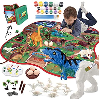 Oukzon 40 Pcs Dinosaur Toys Painting Set for Kids with Foldable Storage Carpet, Art and Crafts Supplies Kit Party Favors and Creativity DIY Painting Gift Easter for 4 5 6 7 8 Year Old Boys and Girls