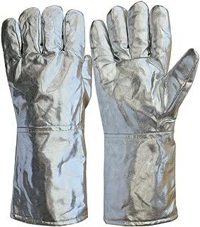 ZXW Glove - Aluminum Foil Gloves, High Temperature Resistant, Flame Retardant, Smelting, Five Fingers, Gloves, Anti-fire, 1000 Degrees (Color : Silver, Size : L37cm)