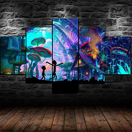 TAIQUANDAO 5 Teilig Leinwanddrucke Rick Und Morty Pilz Trippy Poster Bilder Wand Deko Vlies Modern Format Leinwandbilder Wohnzimmer Wanddekoration-150 x 80 cm