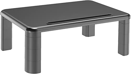 Monitor Stand Riser with Adjustable Height and Storage Organizer for Computer, Printer, Laptop, Desk with Tablet & Phone Holder, Cable Management Slot (Black, 1 Pack) product image