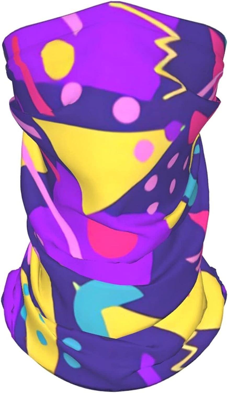 Retro 80s Memphis5 Neck Gaiter Multipurpose Headwear Ice Silk Mask Scarf Summer Cool Breathable Outdoor Sport 4 Pcs