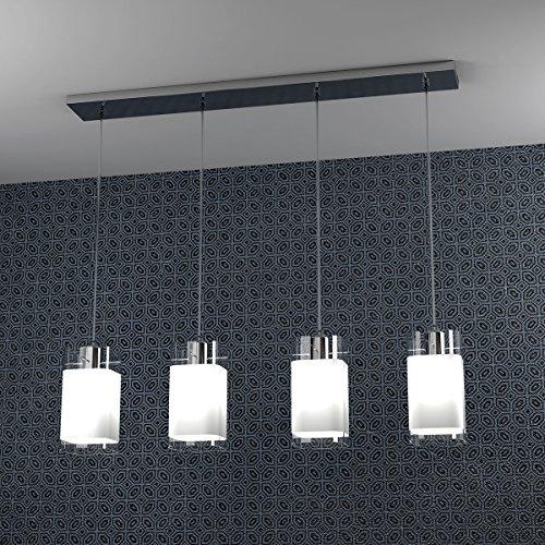 Lampadario a Sospensione Barra 80 cm 4 Faretti sospesi VILD per Sala da Pranzo e Living arredamento moderno Lampade Design