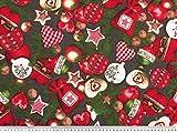 ab 1m: Weihnachtsstoff, Christbaumschmuck, dunkelgrau, 140cm breit