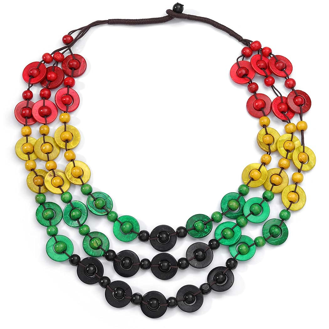Yokawe African Collar Choker Necklace Multilayer Colorful Wood Bead Chunky Bib Ethnic Egypt Tribal Coconut Shell Statement Necklaces Jewelry Set for Women (B)