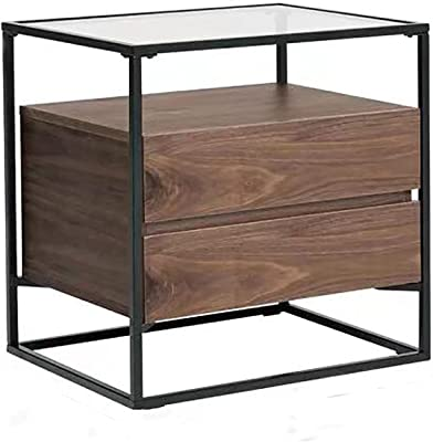 Nightstand Rectangle Wooden End Table with Drawer Modern Bedside Table Sofa Side Table Small Space Glass Table Top
