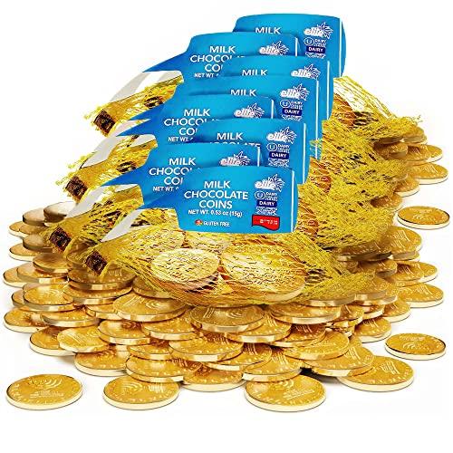 Elite Milk Chocolate Hanukkah Coins (8 Pack) Chanukah Gelt | Premium Rich Kosher Milk Chocolate Coins, Gluten Free, Product Of Israel, Chalav Yisroel