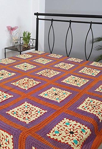 Rajrang Handarbeit Tagesdecke Baumwolle blau Handarbeit Doppelzimmer Bettlaken