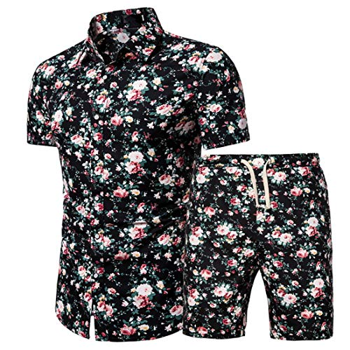 Camisa Hombre Verano Básica Ajustado Elástica Hombre Henry Camisa Moderno Casual Vacaciones Playa Hombre Manga Corta Set Botón Placket Surf Hombre Shirt G-Black XXL