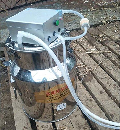 WAYMX Elektrische Melkmaschine/Doppelkopf-Milchpumpe/eine Maschinen-Edelstahl-Milcheimer 14l Vieh Verwendung