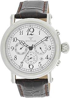 Spectrum Men's Silver Case Silver Dial Multi Function Dress Watch