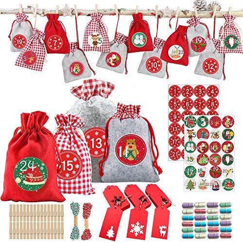 Hook 24 Adventskalender zum Befüllen Kinder Stoff, Weihnachtskalender Selber Basteln, Adventskalender Säckchen Selberfüllen, Jutesäckchen, Stoffsäckchen, Aufkleber, Geschenkumbauten, Kapseln, Schnur.