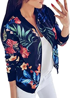 Fankle Women's Jacket Boho Floral Printed Classic Zip Up Long Sleeve Bomber Coat Casual Loose Short Lightweight Top Blouse