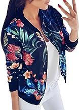 SHOBDW Liquidación Venta Mujer Sudadera Suelta Ladies impresión Flor Cremallera Chaqueta Outwear Floja otoño Invierno Manga Larga Tops