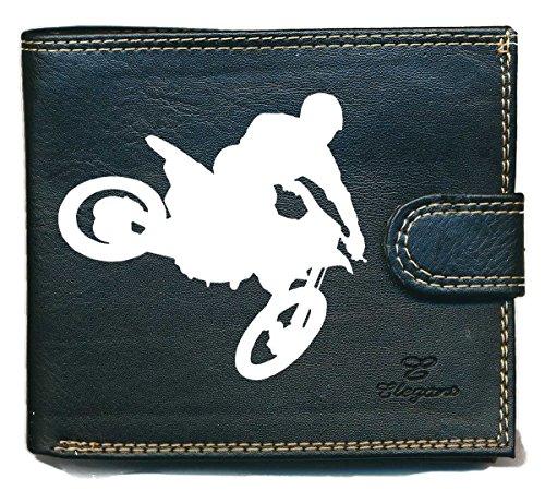 Billetera y monedero con cremallera pequeña para hombre con solapa, Moto cross (Negro) - portrabat-motocross