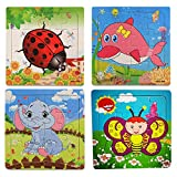 OMGOD Kids Puzzles Toys 4 Pack, 16pcs Wooden Animals Elephant Bee Dolphins Ladybugs Fancy Education and Learning Intelligence Toys Jigsaw Puzzles Present (16 Pieces Puzzles)