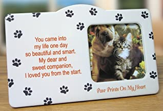 Pet Memorial Picture Frame - Paw Prints on my Heart Poem - In Memory of Cat - In Memory of Dog - Pet Remebrance