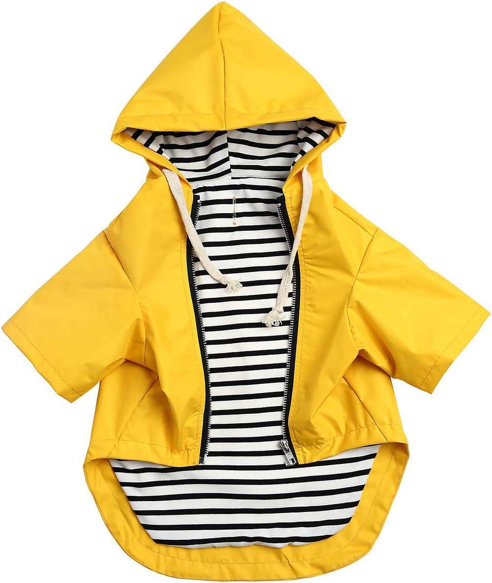cord/ón ajustable bolsillos con cremallera color amarillo resistente a la lluvia y al agua color rojo Chubasquero para perros de alta calidad con botones reflectantes XS