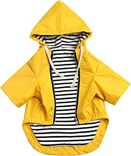 Stylish Premium Dog Raincoats - Dog Wear Yellow Zip Up Dog Raincoat with Reflective Buttons, Pockets, Rain/Water Resistant, Adjustable Drawstring