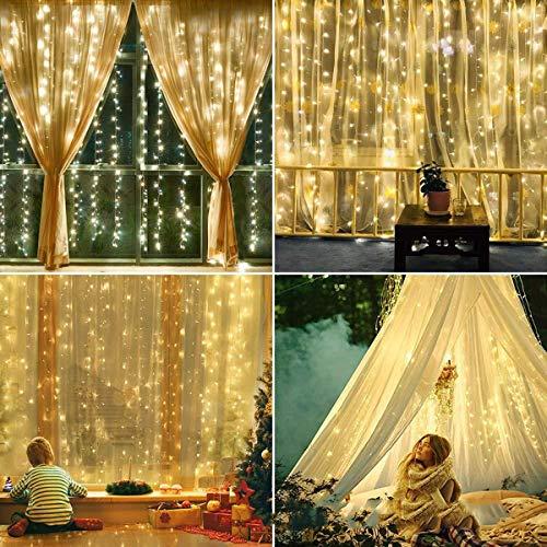 Shhjpy 306 LED Gordijnlichten, 3M X 3M plug in decoratieve vensterverlichting, 8 modi waterdicht Fairy lichtkettingen voor tuin, paviljoen, party, terras en meer, warmwit (aanpasbaar)