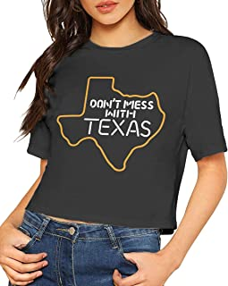 Women's Don't Mess with Texas Crop Tops Tee, Short Sleeve Tops Tee for Women