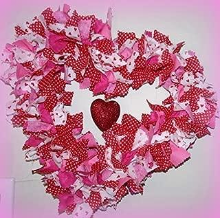 Valentines Day rag tie HEART wreath