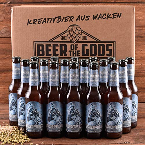 Wacken Brauerei Weizendoppelbock - Pack de cervezas caseras - 18 botellas de 0,33 l de cerveza de trigo - La cerveza de los dioses - Oro en el International Beer Award